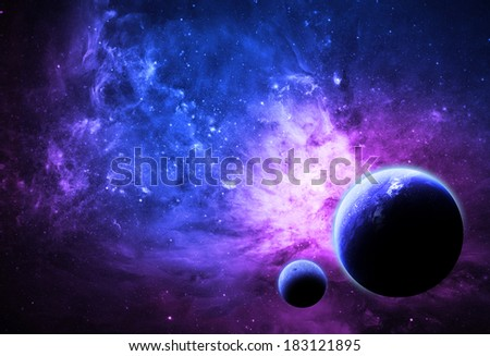 Deep Blue Alien World - Elements of this Image Furnished By NASA - stock photo