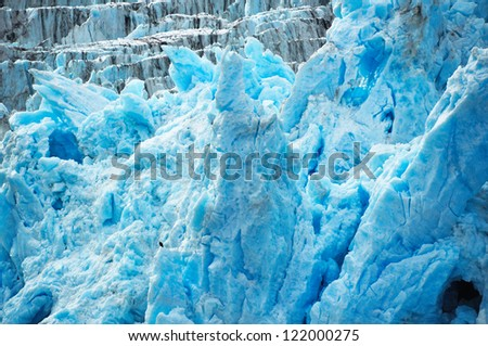 Deep blue glacier ice with a bald eagle. - stock photo