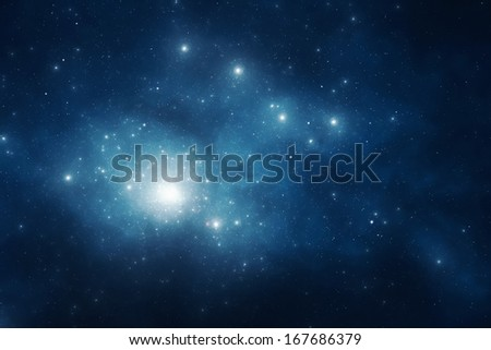 Deep blue night sky filled with stars and space dust - stock photo