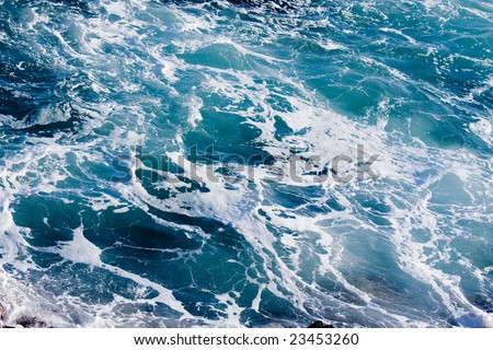 Deep Blue Ominous Ocean Water Background Image. - stock photo