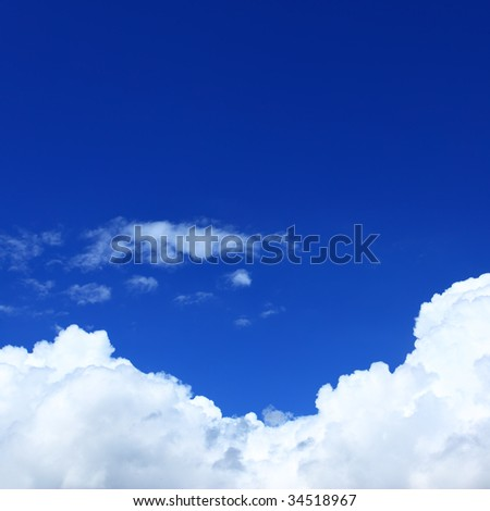 Deep blue sky and clouds, may be used as background - stock photo