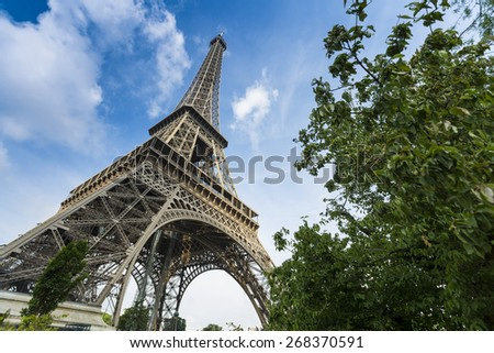 Deep blue sky and Eiffel Tower with tree - stock photo