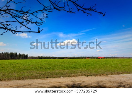 Deep blue sky over field with buildings in the far and twigs in the foreground - stock photo