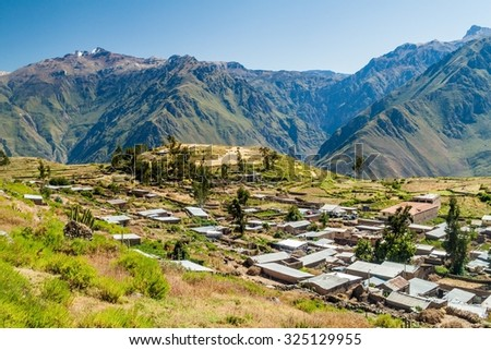 Deep Colca canyon behind Cabanaconde village, Peru - stock photo
