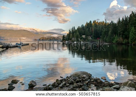 Deep Cove In Autumn At Sunset Time North Vancouver British Columbia Canada