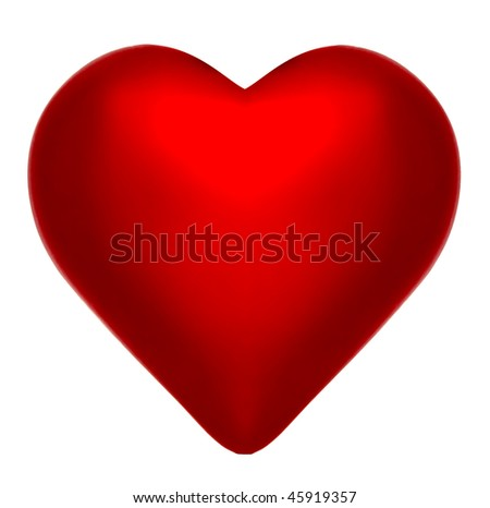Deep Crimson Red Heart on isolated white