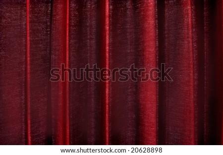 Deep crimson velvet stage curtains. - stock photo