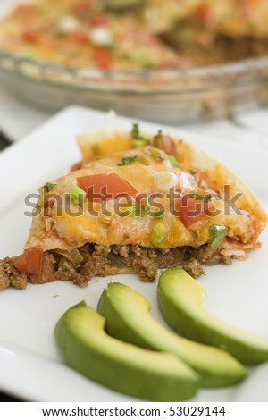Deep Dish Mexican Pizza on Plate - stock photo
