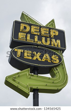 Deep Ellum Street Neon Sign - Deep Ellum is a neighborhood composed largely of arts and entertainment venues near downtown in east Dallas, Texas. - stock photo