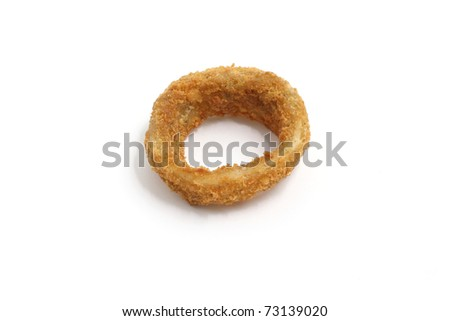 deep fired onion ring isolated in white background - stock photo