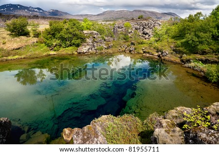 Deep fissure in the lake at Thingvellir National Park, Iceland - stock photo