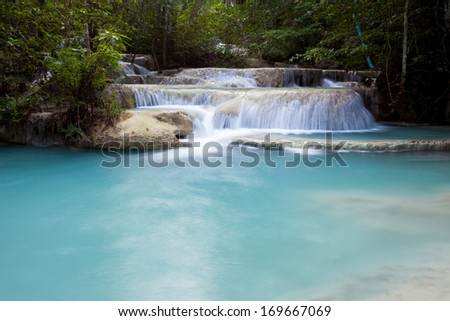 Deep forest waterfall at Erawan waterfall National Park Kanjanaburi Thailand