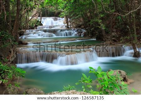 Deep forest waterfall at Huay Mae Kamin National Park Kanjanaburi Thailand - stock photo