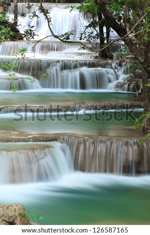 Deep forest waterfall at Huay Mae Kamin National Park Kanjanaburi Thailand - stock photo