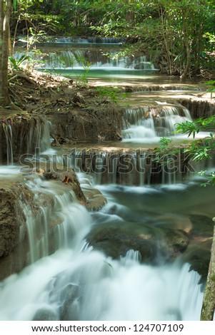 Deep forest waterfall at Huay Mae Kamin National Park Kanjanburi Thailand - stock photo