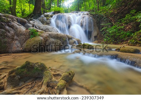 Deep forest waterfall at Phukang waterfall, Doi Luang National Park, Chiang Rai, Thailand