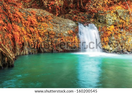 Deep forest waterfall in autumn at Sarika Waterfall World Heritage collection