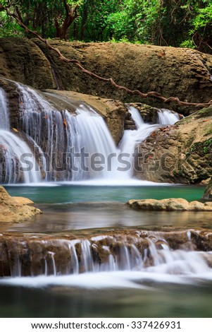 Deep forest waterfall in Huay Mae Kamin Kanjanaburi Thailand - stock photo