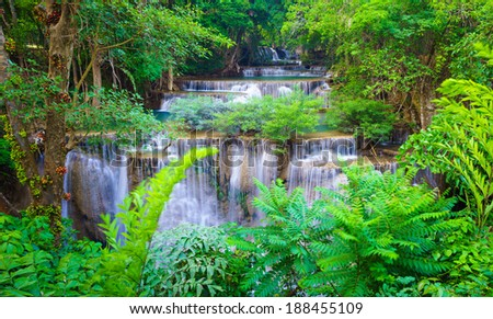 Deep forest Waterfall in Kanchanaburi, Western of Thailand - stock photo