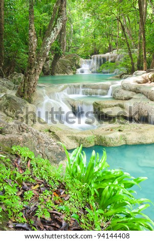 Deep forest waterfall in Kanjanaburi Thailand