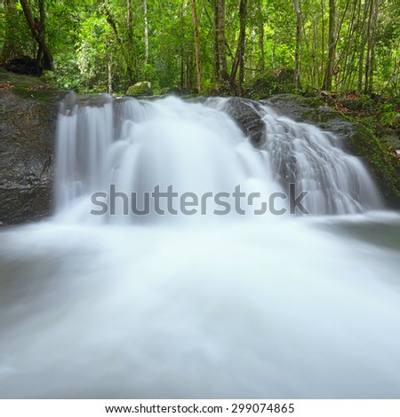 Deep forest Waterfall in Krating Waterfall at Chanthaburi, Thailand - stock photo