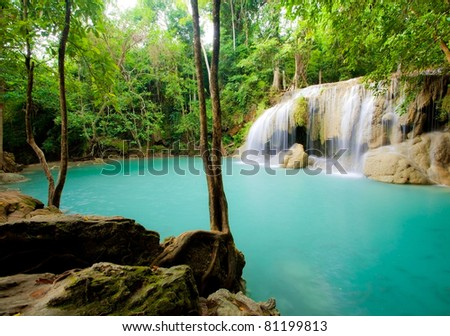 Deep forest Waterfall in Thailand - stock photo