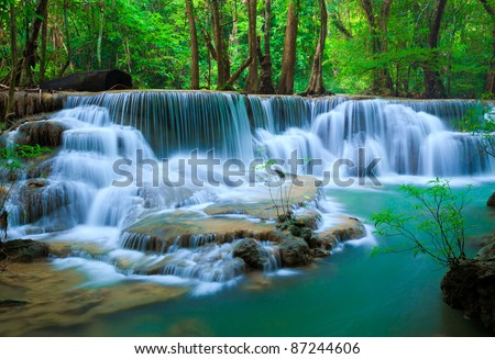 Deep forest Waterfall, Kanchanaburi, Thailand - stock photo