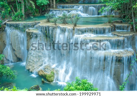Deep forest waterfall Kanjanaburi Thailand - stock photo