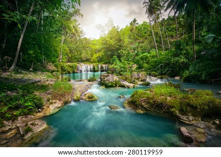 Deep forest waterfall  National Park. - stock photo