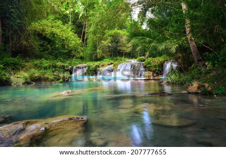 Deep forest waterfall  National Park  island of Siquijor. Philippines - stock photo