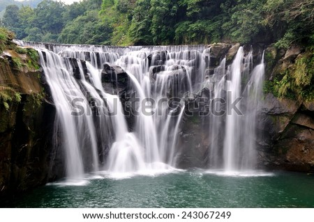 Deep forest Waterfall, Shifen waterfall, Taiwan - stock photo