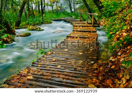 Deep forest wooden pathway over the crystal water creek in Plitvice National Park