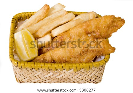 Deep fried beer battered fish and chips with wedge of lemon in a basket. Isolated on white. Shadowless. - stock photo