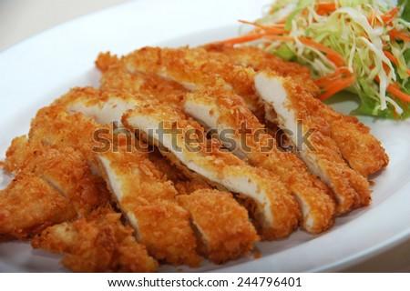 Deep fried breaded chicken - stock photo