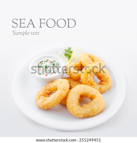 Deep fried calamari rings - stock photo