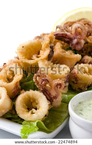 deep fried calamari with letucce and sauce - stock photo