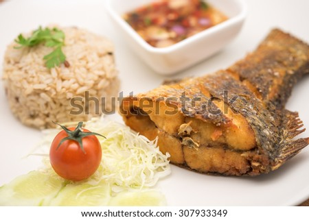 Deep fried fish fillet with brown rice and hot chili sauce paste on ceramic plate for food background - stock photo