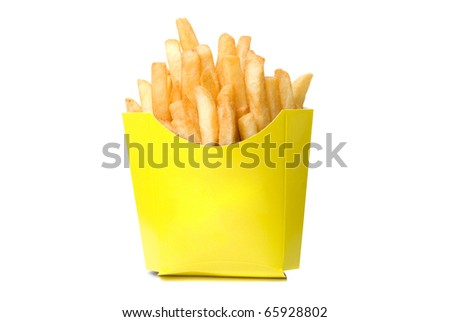 deep-fried potatoes isolated on a white - stock photo
