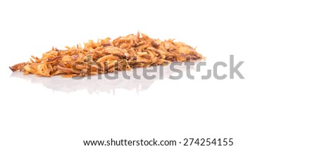 Deep fried shallots for garnishing over white background
