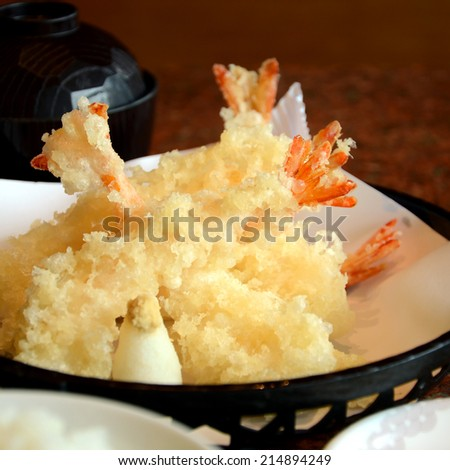 Deep Fried Shrimps in Japanese Style, Tempura Shrimps. - stock photo
