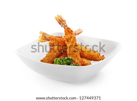 Deep Fried Shrimps with Parsley - stock photo