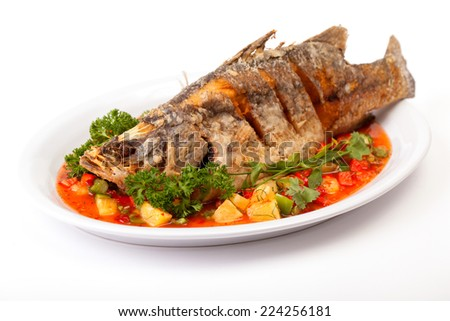 Deep fried Snapper with Sweet Chilli - stock photo