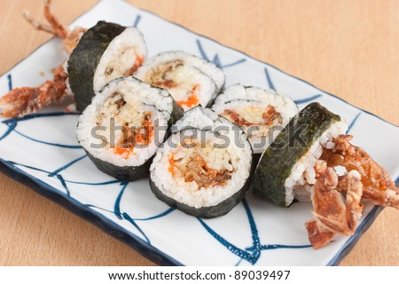 Deep fried soft shell crab sushi roll - stock photo