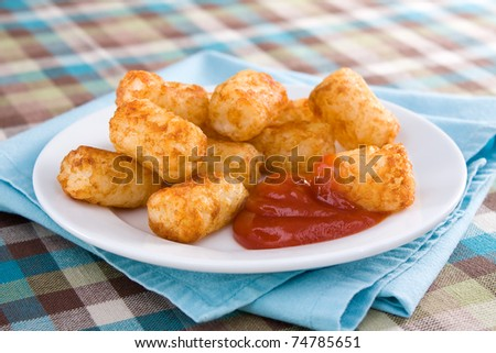 Deep-fried tater tots served with ketchup. - stock photo