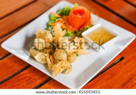 "deep fried Thai Traditional spring roll "" Toong Tong """