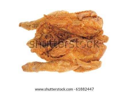 Deep Fried Whole Chicken On White Background - stock photo