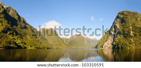 Deep in the interior of Doubtful sound, South Island, New Zealand - stock photo