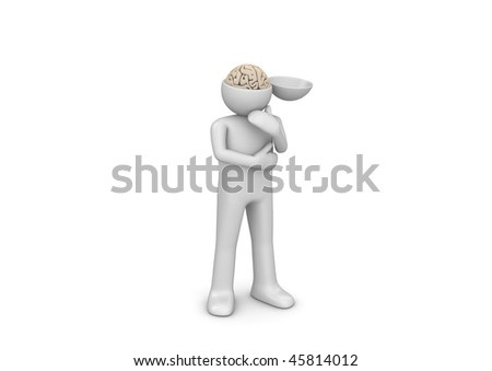 Deep into my mind (3d isolated characters, medicine series) - stock photo