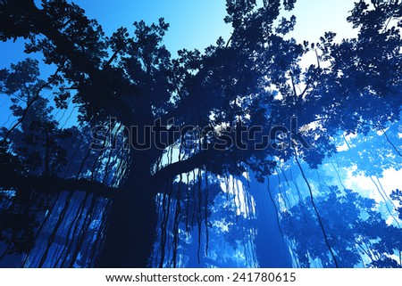 Deep Jungle in the Dark 3D artwork - stock photo