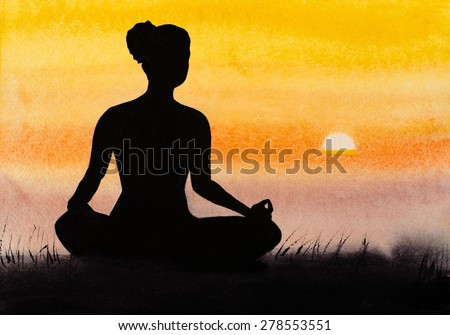 deep meditation on the beach - stock photo